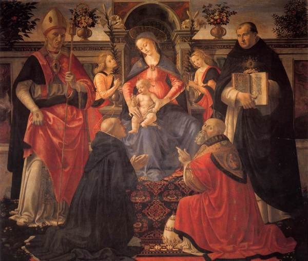 GHIRLANDAIO_Domenico_Madonna_And_Child_Enthroned_Between_Angels_And_Saints