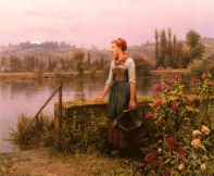 Knight_Daniel_Ridgeway_A_Woman_With_A_Watering_Can_By_The_River