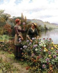 Knight_Daniel_Ridgway_Peasant_Girls_in_Flower_Garden