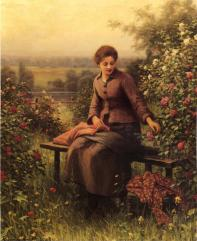 Knight_Daniel_Ridgway_Seated_Girl_with_Flowers