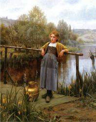 Knight_Daniel_Ridgway_Young_Girl_by_a_Stream